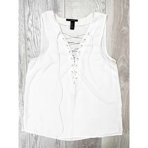🛍3 for $25 🛍 Forever 21 White Lace Up Tank Top